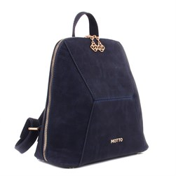Moxee - Matte Navy Blue Vegan Leather Womens Backpack