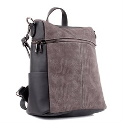 Moxee - Grey Color Vegan Leather Womens Backpack