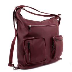 Moxee - Claret Red Satin Fabric Womens Backpack, Shoulder Bag