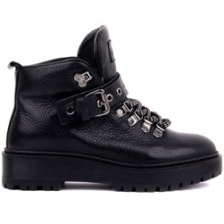Sail Lakers - Black Genuine Leather Lace Up Womens Boots