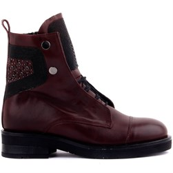 Sail Lakers - Claret Red Genuine Leather Zippered Stone Detailed Womens Boots