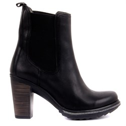 Sail Lakers - Black Genuine Leather Slip on High Heels Womens Boots