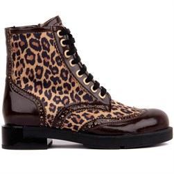 Moxee - Brown Vegan Leather Leopar Patterned Zippered Womens Boots