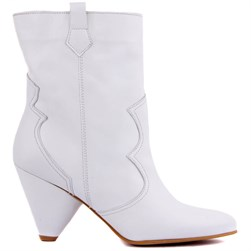 Sail Lakers - White Genuine Leather Slip On Womens Boots