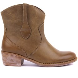 Sail Lakers - Khaki Genuine Leather Zippered Womens Boots
