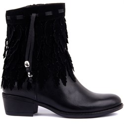 Sail Lakers - Black Genuine Leather Tassel Detailed Zippered Womens Boots