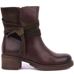 Sail Lakers - Brown Genuine Leather, Green Suede Zippered Womens Boots