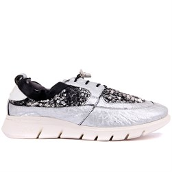 Sail Lakers - Silver Genuine Leather Womens Sneakers