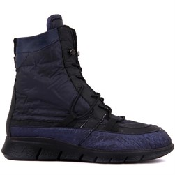 Sail Lakers - Navy Blue Genuine Leather, Black Textile Lace Up Womens Boots
