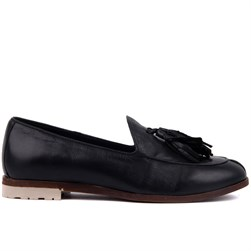 Sail Lakers - Black Genuine Leather Womens Slip-on Loafer