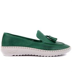 Sail Lakers - Pine Green Genuine Leather Slip-on Loafer  Womens Shoes