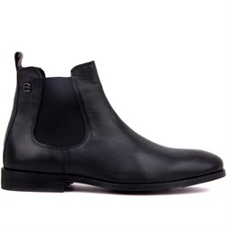 Black Genuine Leather, Leather Sole Mens Boots
