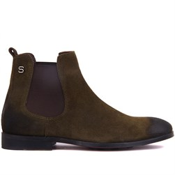 Green Suede Genuine Leather, Leather Sole Mens Boots