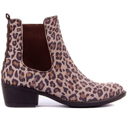 Sail Lakers - Mink Color Genuine Leather Leopard Patterned Slip On Womens Boots