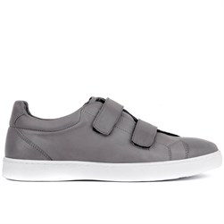 Grey Leather Mens Sneaker