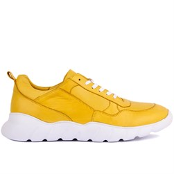Yellow Leather Mens Sneakers