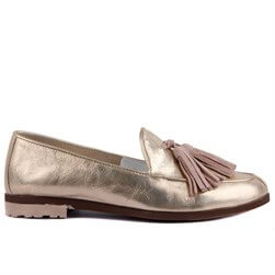 Sail Lakers - Gold Genuine Leather Womens Slip-on Loafer