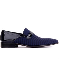 Navy Blue Tanning Leather Textile Mens Classic Shoes