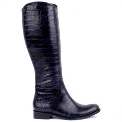 Sail Lakers - Navy Blue Genuine Leather Crocodile Pattern Zippered Womens Boots