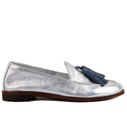 Sail Lakers - Silver Genuine Leather Womens Slip-on Loafer