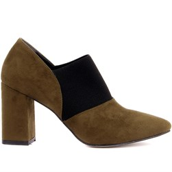 Moxee - Khaki Suede, Vegan Leather Womens Heeled Shoes