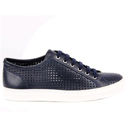 Navy Blue Leather Mens Sneaker