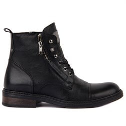 Black Genuine Leather Mens Boot