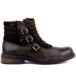 Green Genuine Leather Mens Boots