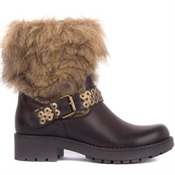 Sail Lakers - Brown Genuine Leather Zippered Furry Womens Boots