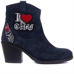 Sail Lakers - Jean Blue Suede Zippered Womens Heeled Boots
