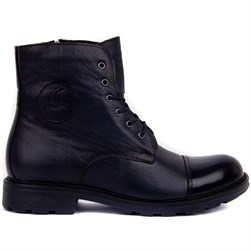 Navy Blue Genuine Leather Mens Boots