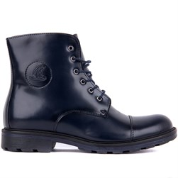 Navy Blue Tanning Genuine Leather Mens Boots