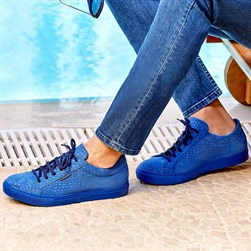 Navy Blue Nubuck Mens Sneaker