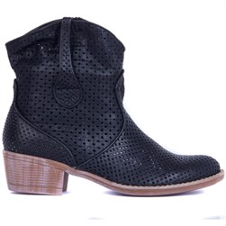 Sail Lakers - Black Genuine Leather Staple Detailed Zippered Womens Summer Boots