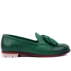 Sail Lakers - Pine Green Genuine Leather Womens Slip-on Loafer