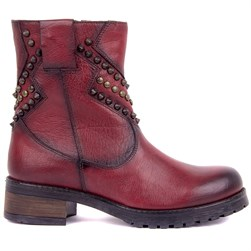 Sail Lakers - Claret Red Genuine Leather Slip on Womens Boots