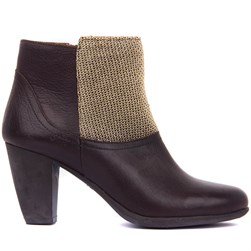 Sail Lakers - Brown Genuine Leather, Gold SIM Textile Zippered Womens Heeled Boots