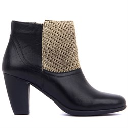 Sail Lakers - Black Genuine Leather Gold SIM Textile Zippered Womens Heeled Boots
