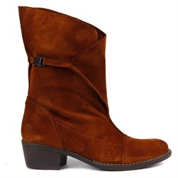 Sail Lakers - Tobacco Color Suede Foldable Womens Boots