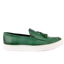 Green Genuine Leather Mens Sneaker