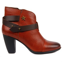 Sail Lakers - Brick Color Genuine Leather Womens Boots
