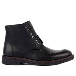 Black Genuine Leather Mens Boots