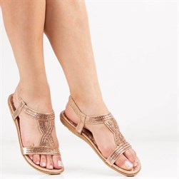 Guja - Gold Color Vegan Leather Bead Detail Womens Sandals