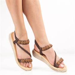 Guja - Brown Vegan Leather Womens Sandals