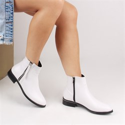 Guja - White Patent Leather Vegan Leather Zippered Womens Boots