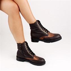 Moxee - Brown, Bronze Vegan Leather Zippered Womens Boots