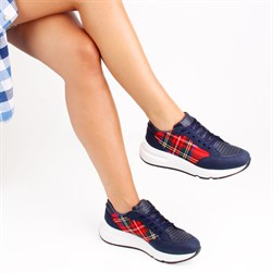 Moxee - Navy Blue Vegan Leather Plaid Lace up Womens Casual Shoes
