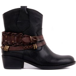 Sail Lakers - Black, Brown Genuine Leather Zippered Womens Boots