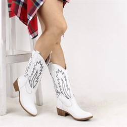 Sail Lakers - White Genuine Leather Embroidered Slip On Womens Boots