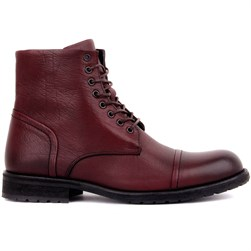 Claret Red Genuine Leather Mens Boots